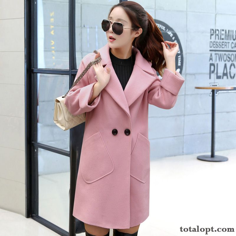 Large Size Loose Coat Thickening Autumn Winter New Women's Long Section Woolen Europe Thin Overcoat Garnet Cream For Sale