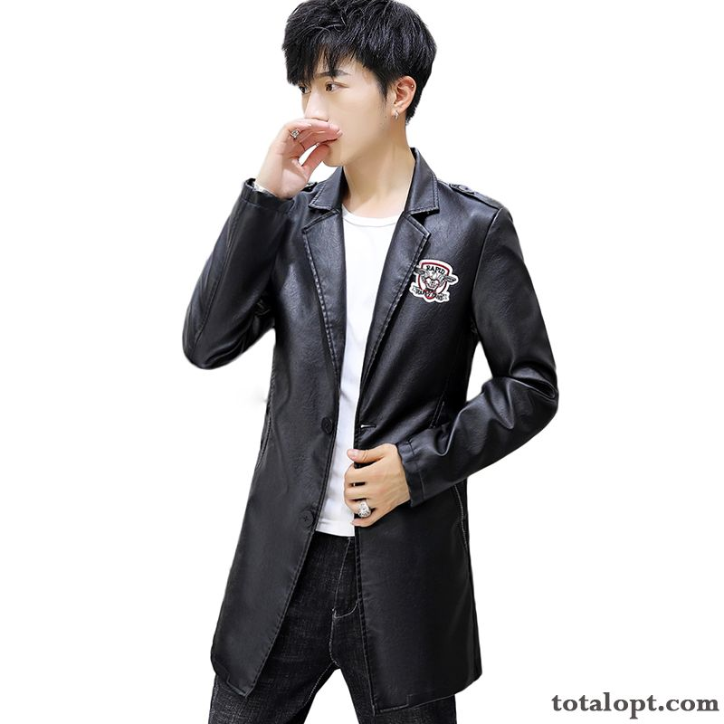 Leather Jacket Slim Youth Suit Long Section Coat Pu Autumn Trend Men's Black New Breen Cyan For Sale