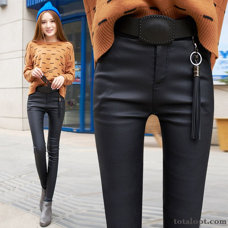 Leather Large Size Pencil Pants Plus Velvet High Waist Outwear Leisure Thickening Leggings Underneath Autumn Winter Women's Thin Red Darkgray