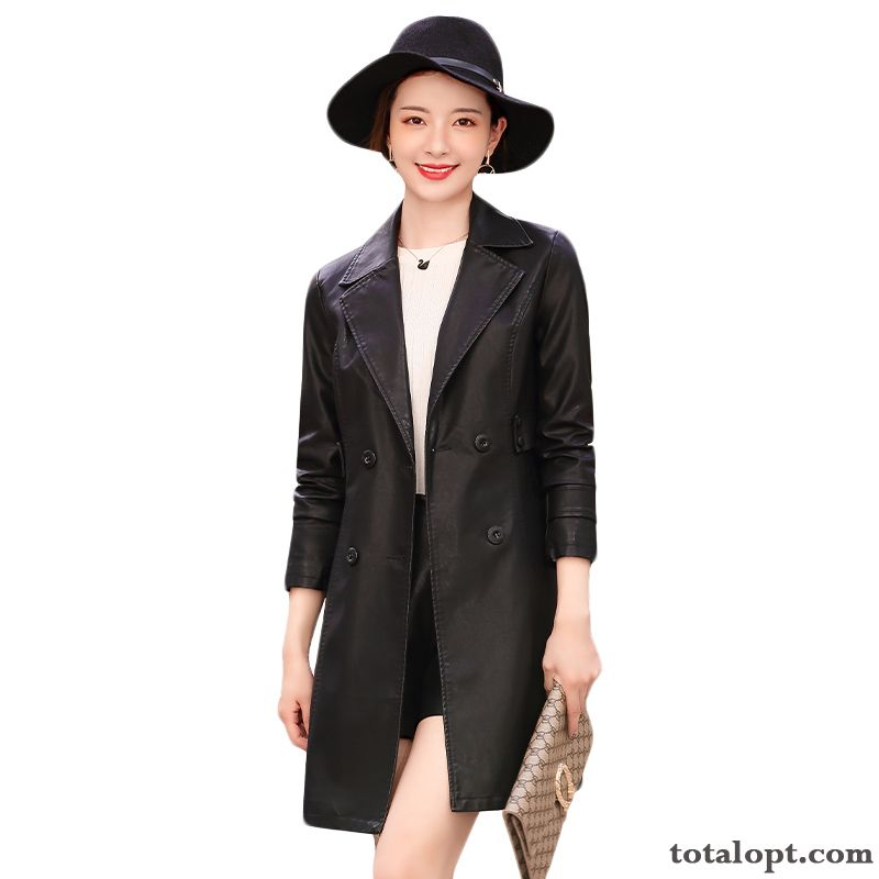 Leather Personality Fashion Trend Long Sleeves Elegant Black Comfortable Autumn Temperament Slim Peacock Blue Carbon Black