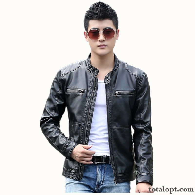 Leather Plus Velvet Black Short Europe Genuine Leather Jacket Men's New Spring Youth Stand Collar Leisure Khaki Winered Discount