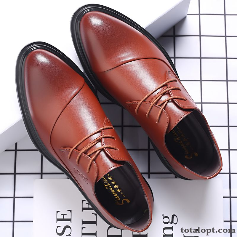 Leather Shoes British Increased Business Men's Brown Genuine Leather Pointed Toe Soft Sole Trend Dress Cherry Khaki