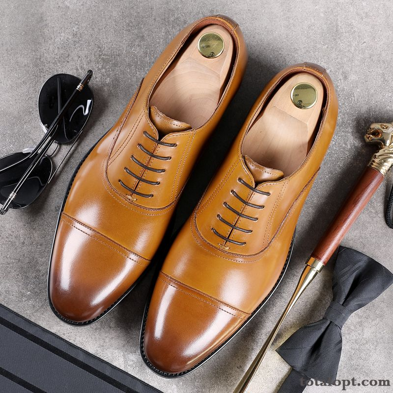 Leather Shoes Business Wedding Shoes Genuine Leather Oxford British Men's Dress Lace-up Yellow Pointed Toe Cyan Dark Green