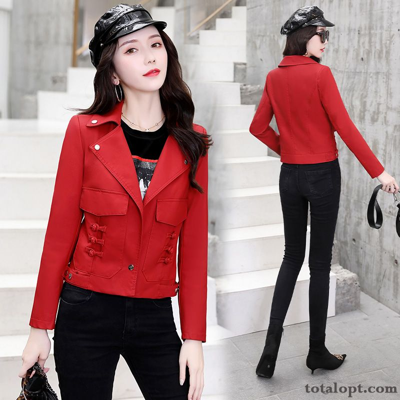 Leather Slim Stand Collar Fashion Red Autumn Short Long Sleeves Pink Snowy White Discount