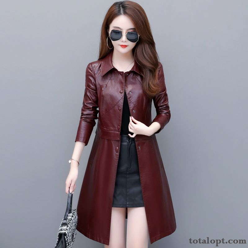 Leather Slim Trend Thin Long Section New Large Size Coat Women's Spring Europe Red Black Green Online