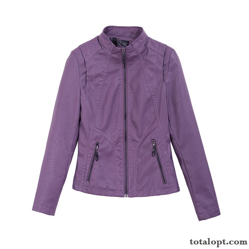 Leather Thin Coat Pu Fashion Spring New Slim Purple Jacket Europe Women's Trend Autumn Short Pea Green Salmon Pink