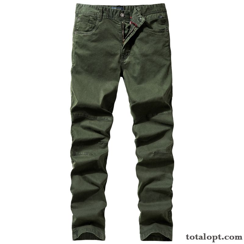 Leisure Autumn Pure Straight Military Green Men's Cotton Europe Tooling Large Size Pants Trousers Trend Spring Skinny Loose Bisque Khaki Online