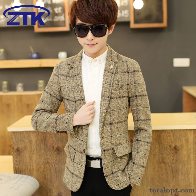 Leisure Checks Autumn Men's Suit Slim Coat Europe Student Ocean Blue Ivory White