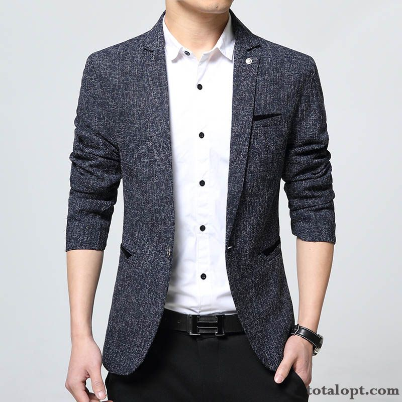 Leisure Coat Autumn Blue Europe Skinny Slim Large Size Men's Blazer Suit Sandy Beige Oyster White For Sale