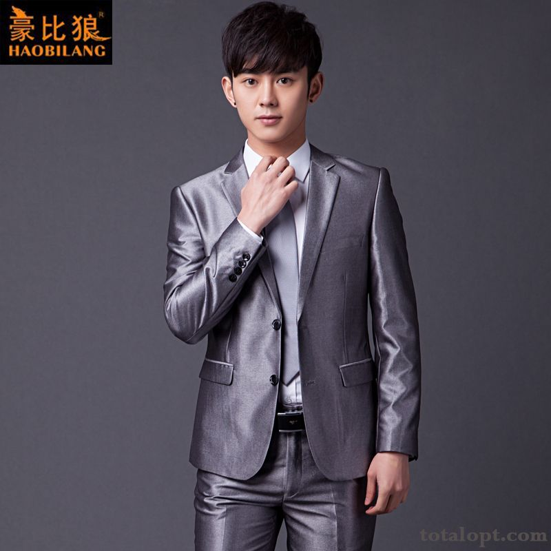 Leisure Men's Autumn Europe Dress Glossy Suit Gray Wedding Slim Seagreen Rose Violet Online