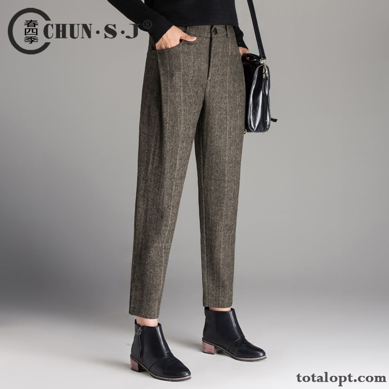 1aa72c8d9cb Leisure Pants Winter Woolen Women s Ninth Pants Harlan Autumn Checks  Thickening Loose Trousers Stripes All White