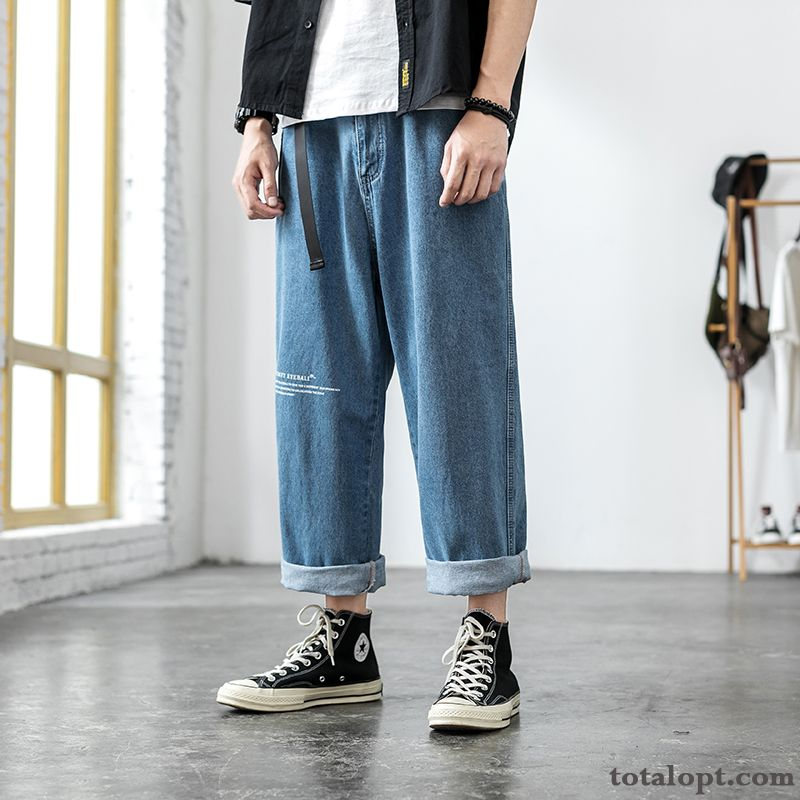 Leisure Summer Skinny Pants Straight Blue Loose Jeans Tooling Men's Trend Retro Peacock Blue Pitch-dark