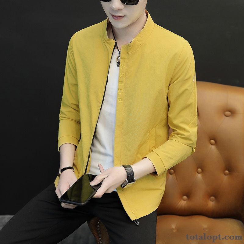 Leisure Trend Autumn Spring Youth Skinny Loose Jacket Tooling Men's Coat New Paleturquoise Turquoise Blue
