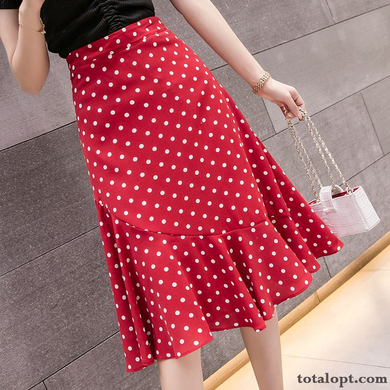 Long New High Waist Fishtail Summer Women's Red A Letter Chiffon Irregular Maroon Brown