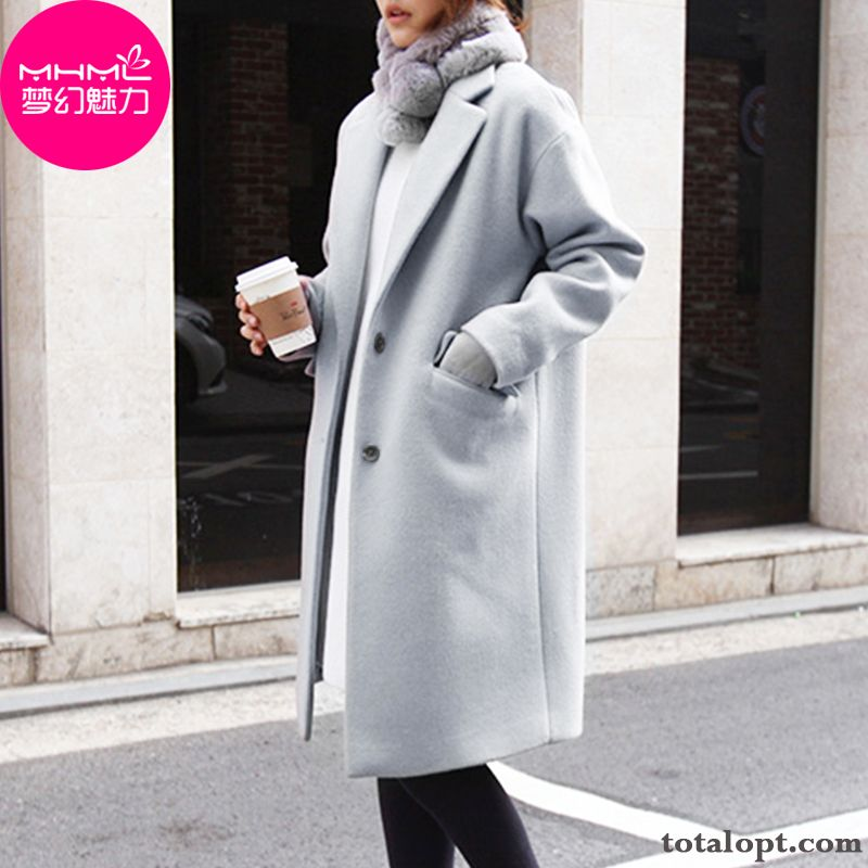 Long Section Large Size Woolen Coat Autumn Europe Winter Overcoat Student New Thickening Women's Loose Yellow Iris