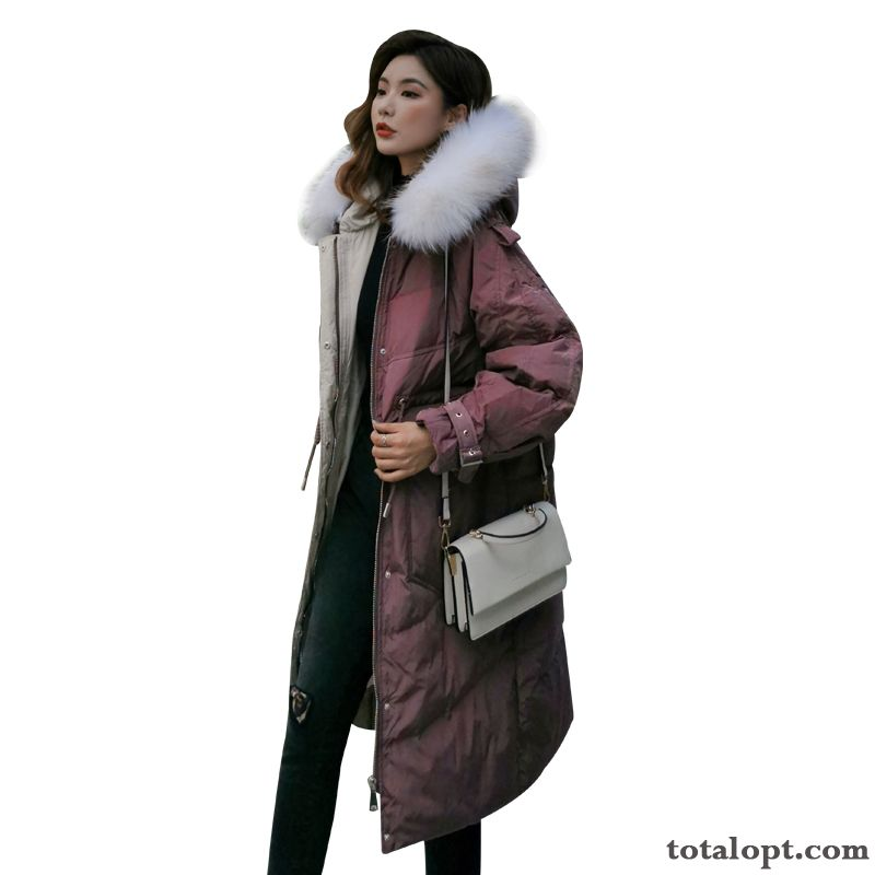 Long Section New Women's Big Fur Collar Down Jacket Trend Coat Red Royalblue Turquoise Blue