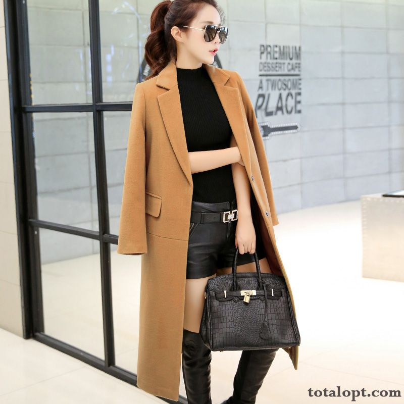 Long Section Overcoat Autumn Suit Europe Women's New Winter Straight Woolen Slim Saddlebrown Sky Blue Discount