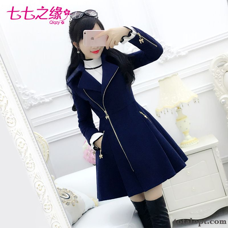 Long Section Overcoat Long Sleeves Women's New Woolen Blue Winter Clothes Zipper Dark Blue Pearl White