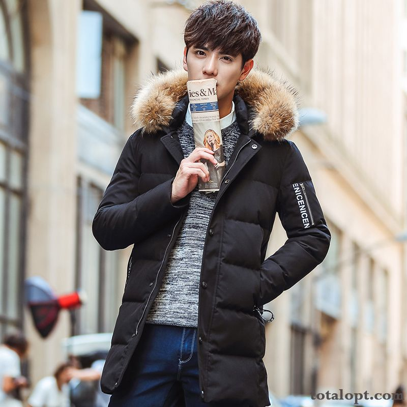 Long Section Winter Clothes Trend Slim Coat New Youth Down Jacket Men's Europe Peachpuff Peacock Blue
