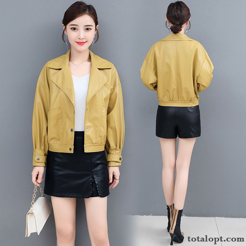 Long Sleeves Autumn Simple Elegant Fashion Short Temperament Comfortable Gold New Single Row Button Dark Red Azure