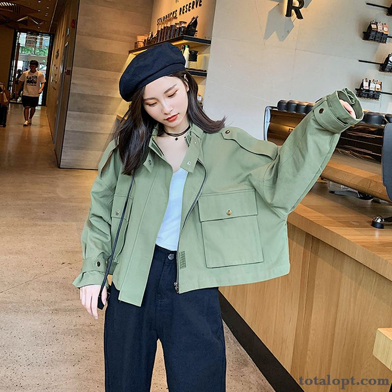 Long Sleeves Coat Loose Short Leisure Stand Collar Retro Jacket Spring Women's Autumn New Deep Yellow Cream