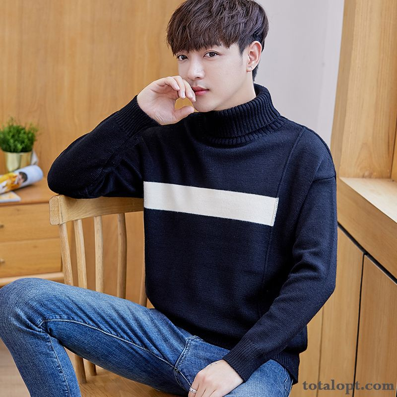 Long Sleeves Knitwear Sweater Thickening Men's Winter Lapel Slim Trend Pullovers Europe New Mixed Colors Violet Deep Yellow For Sale