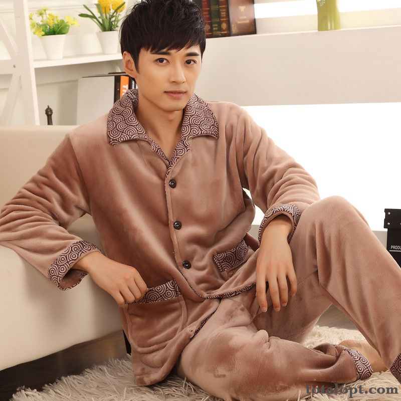 Long Sleeves Men's Autumn Thickening Winter Robes Pajamas Big Large Size Darkgray Cherry