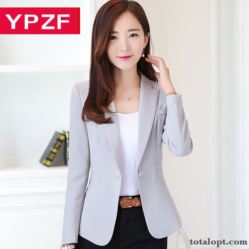 Long Sleeves New Blazer Trend Temperament Slim Coat Autumn Women's Suit Europe Tan Grey Violet