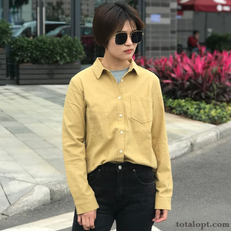 Long Sleeves Preppy Style Retro Women's Shirt Thickening Leisure Spring New Coat Autumn Turquoise Blue Azure