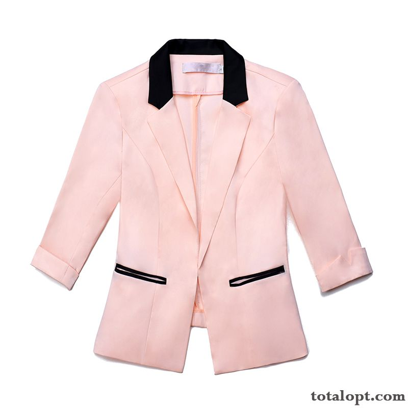 Long Sleeves Short Leisure Blazer Trend New Suit Temperament Europe Slim Spring Lady Pink Coat Carbon Black Ivory