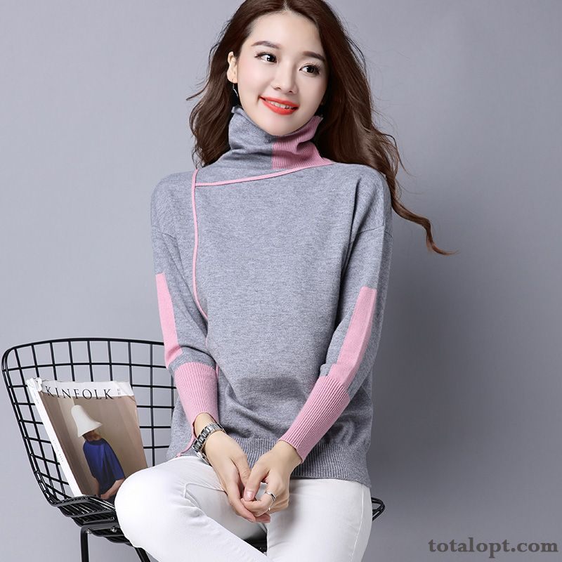 Long Sleeves Thin Women's Europe Winter Clothes Knitwear Sweater Mixed Colors Pullovers Bottoming Shirt Leisure Loose Thick Lavender Garnet