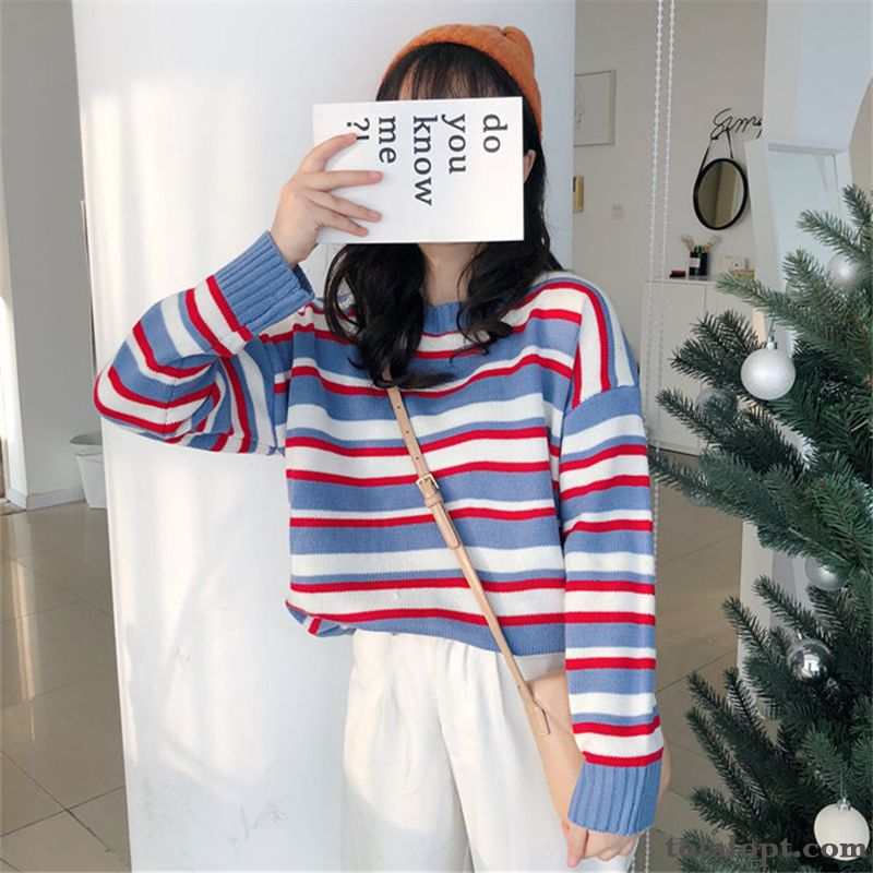 Long Sleeves Winter Knitwear Sweater Autumn New Student Stripes Loose Blue Outwear Women's Pullovers Pitch-dark Grape