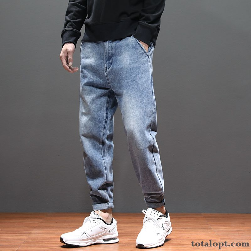 Loose Autumn Pants Jeans Blue Black Men's Harlan Large Size Trend Chocolate Coffee