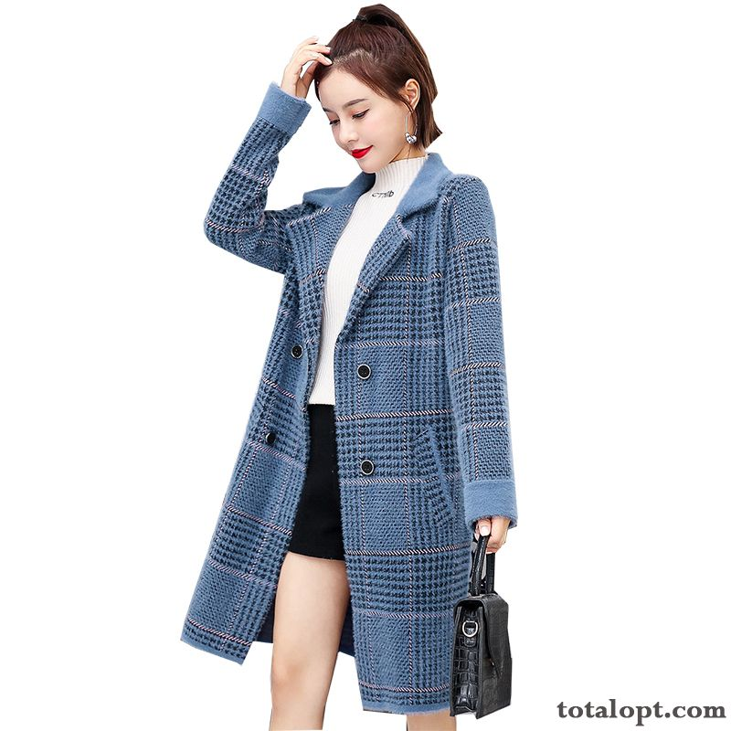 Loose Blue Trend Autumn Long Section New Overcoat Women's Checks Sweater Cardigan Spring Peach Blossom Modena Sale