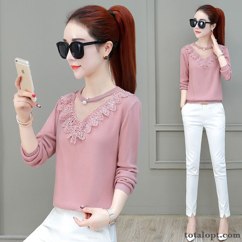Loose Lace Autumn Bottoming Shirt Long Sleeves Spring Coat Women's T-shirt Europe New Pink Pansy Silver White Sale
