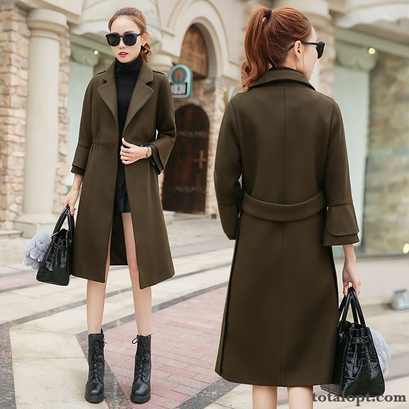 Loose New Long Section Europe Women's Woolen Trend Coat Overcoat Antique Violet Olive Green