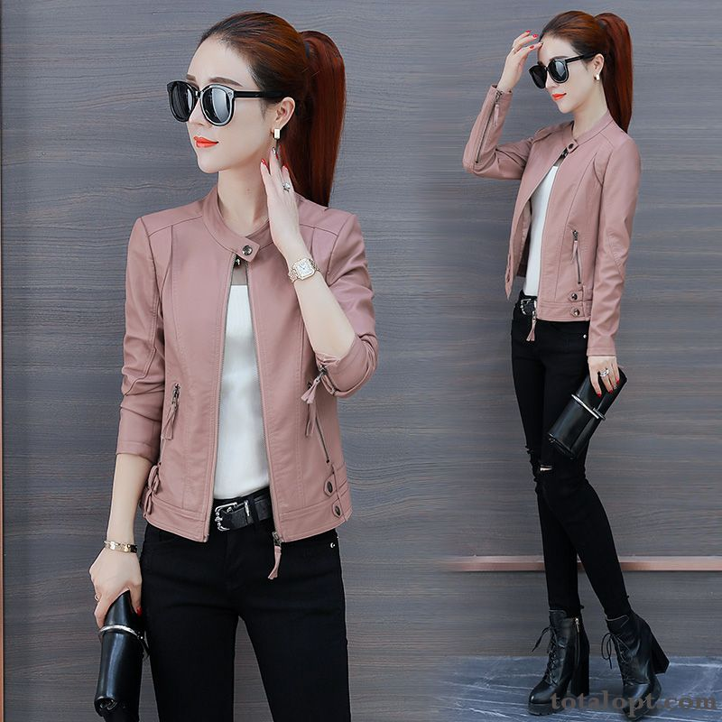 Loose Popular Pink Leather Europe New Short Cotton Spring Slim Coat Women's Jacket Baby Pink Beige
