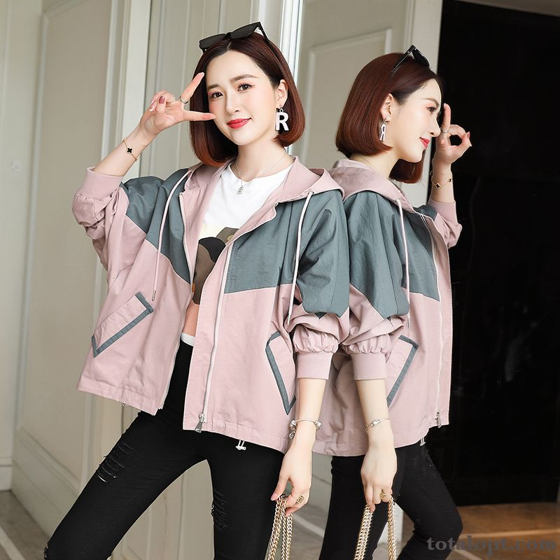 Loose Spring Pink Leisure All-match Women's Coat Short Gray New Jacket Autumn Trend Europe Hooded Tan Purple