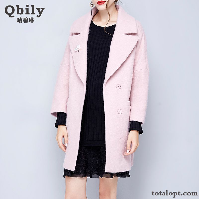 Loose Winter Clothes Long Section Autumn Woolen Women's Thickening Pink Overcoat Lapel Tea Green Sandy Beige