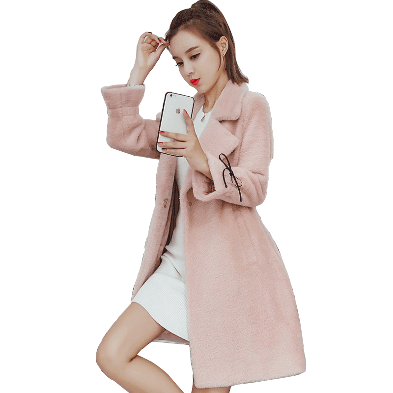 Loose Winter Women's New Thickening Europe Pink Coat Woolen Red Long Section Autumn Overcoat Gold Raw White Pitch-dark