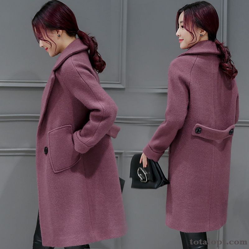 Loose Women's Coat Thin Woolen Autumn Europe Long Section Winter Overcoat New Thickening Garnet Iris
