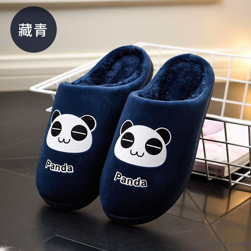 Lovers Home Winter Big Size Cartoon Slippers Lovely Indoor Men's Royalblue Turquoise Blue
