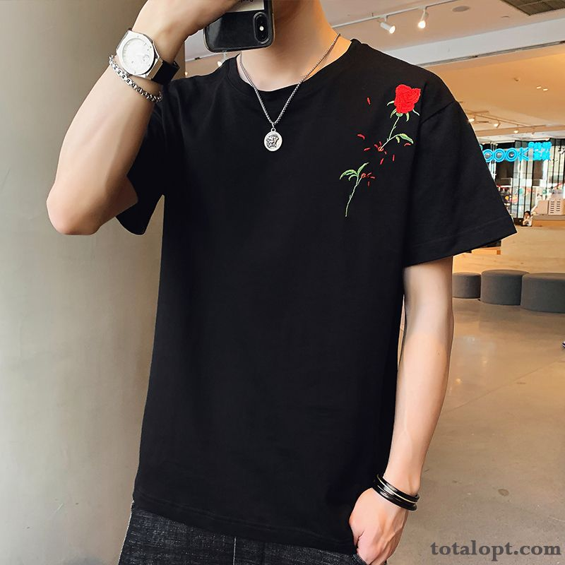 Men's Bottoming Shirt Black Coat Trend New Summer Europe Shorts Rainbow Darkgreen Online