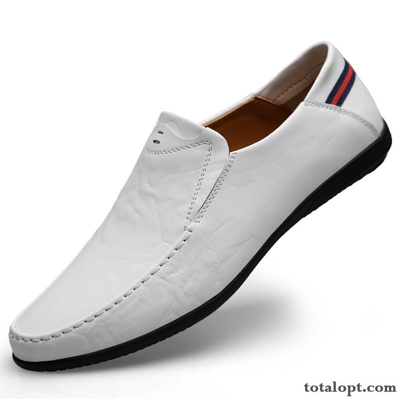 Men's Casual Soft Sole Slip-on Slip On Loafers White Leather Shoes Spring Genuine Leather Purple Reddle For Sale