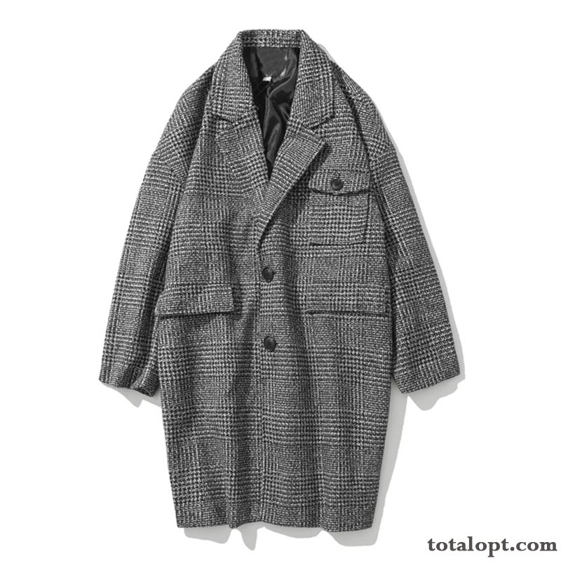 Men's Coat Autumn Woolen Black Checks Overcoat Retro Loose Long Section Gray Spring Europe Reddle Lilac Discount