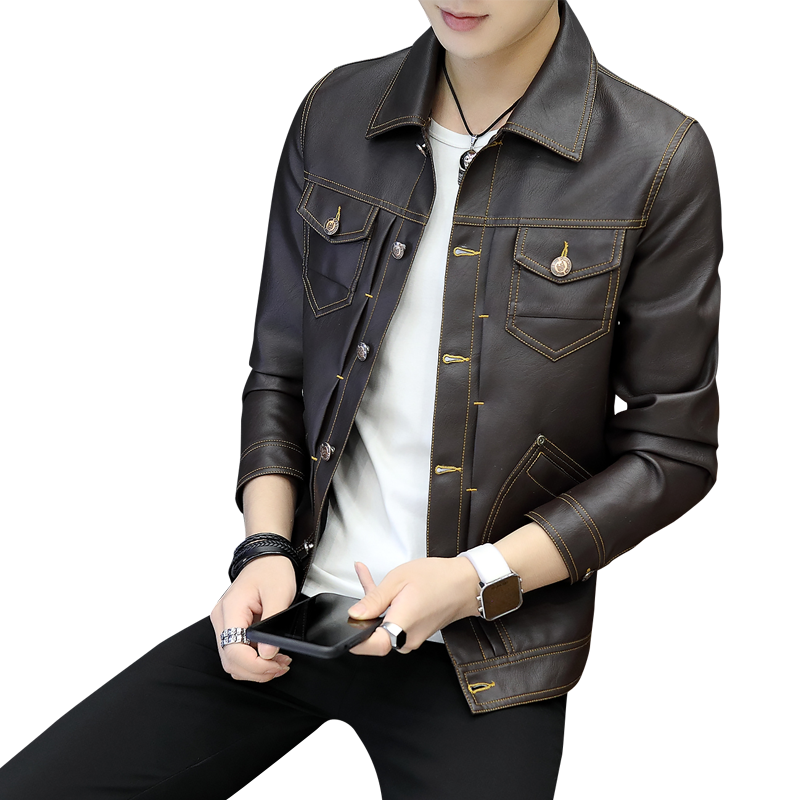 Men's Europe Jacket Autumn Trend Brown Slim Coat Short Spring Youth Skinny Leather Deep Yellow Pearl White