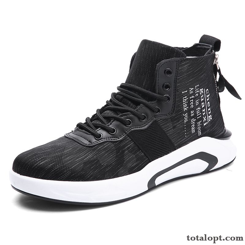 Men's Increased High Top All-match Summer Trend Black Causal Shoes New Coral Tan