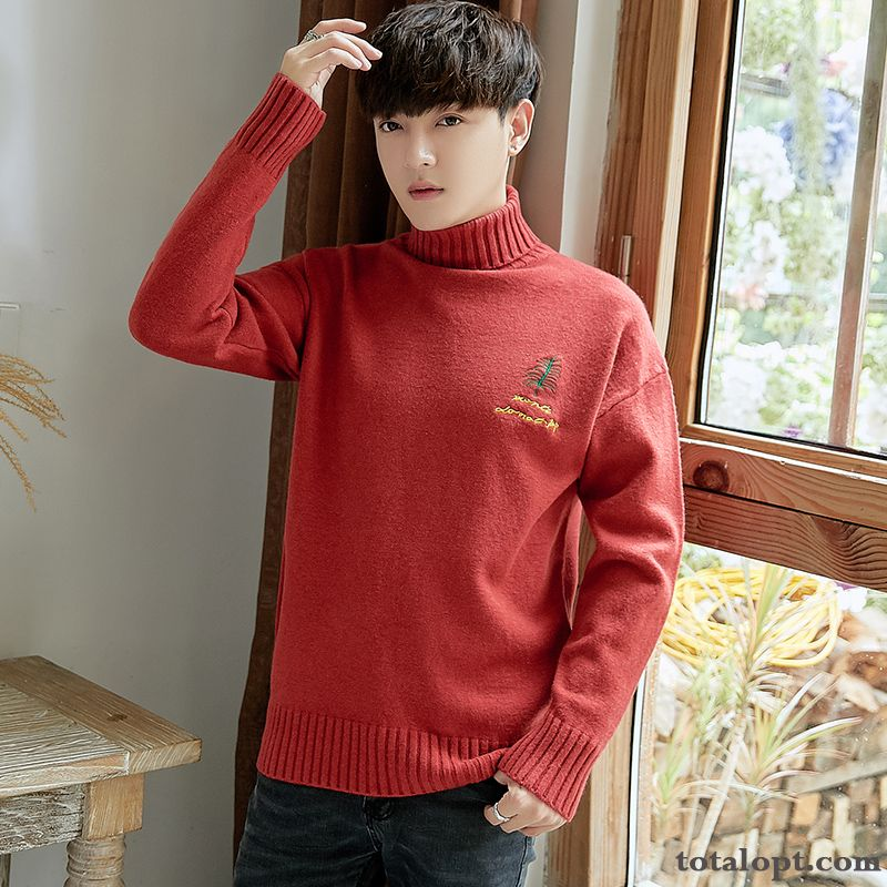 Men's Knitwear Sweater Youth Lapel Pullovers Bottoming Shirt New Pure Thickening Long Sleeves Red Gold Blue Green