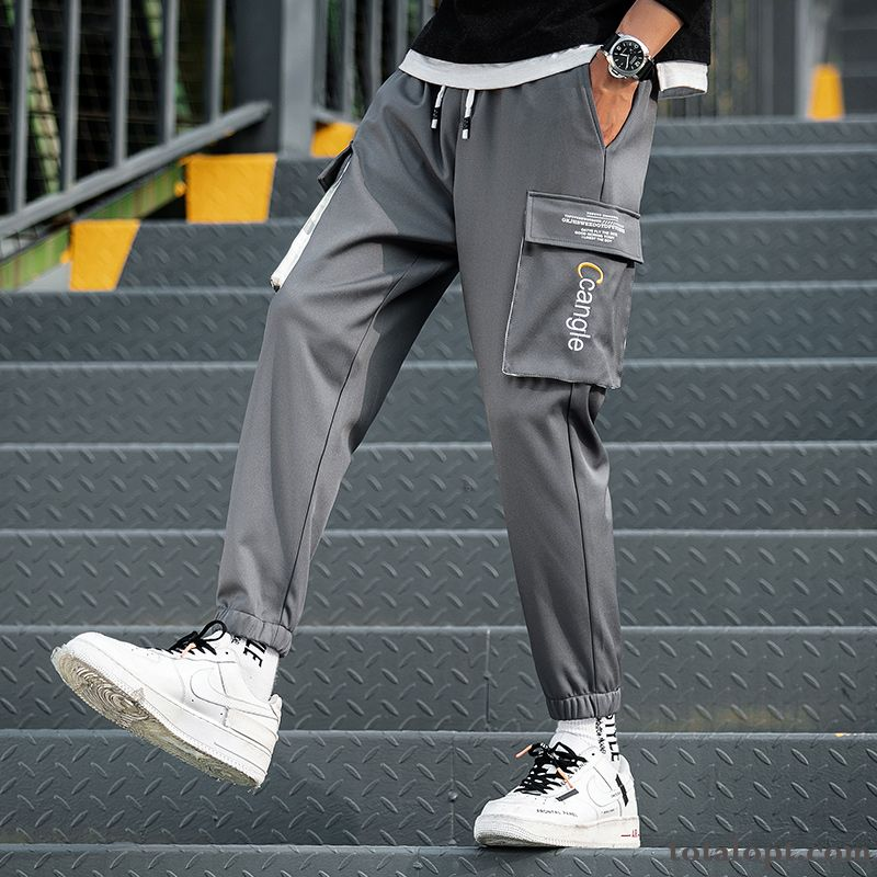 Men's Leisure Spring Europe Trousers Straight Trend Gray Tooling All-match Pants Yellowgreen Snow