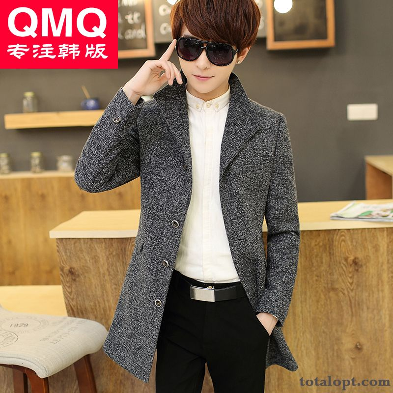 Men's Leisure Youth Long Section Stand Collar Winter Overcoat Europe Woolen Trend Silver White Tan